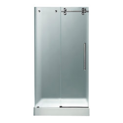 "VIGO Industries - VIGO 48-inch Frameless Shower Door 3/8"" Hardware, Frosted/Stainless Steel, Right - Make your bathroom an oasis with a VIGO frameless shower door with matching 48"" x 32"" shower base."