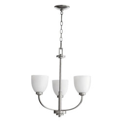 Joshua Marshal - Three Light Satin Opal Glass Classic Nickel Up Chandelier - Three Light Satin Opal Glass Classic Nickel Up Chandelier