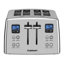 Cuisinart - Cuisinart CPT-435 Countdown 4-Slice Stainless Steel Toaster - Give your kitchen a modern update with this four-slice stainless-steel toaster by Cuisinart. This stylish toaster is sure to stand out. It features blue LED buttons you can use to toast, defrost, or warm toast, bagels, croissants, and more.