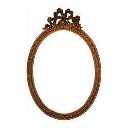 French Louis XVI Style Frame - Louis XVI style oval gilt wood and gesso frame. The original oval glass insert is included. Frame can also be converted into a lovely mirror.