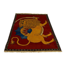 Achaemenid Empire Rug, Signed Pictorial Persian SHiraz Lion 3'X5' Rug SH12577 - Hand Knotted Persian Rugs From Iran are know to be the highest quality rugs from around the world.  The weavers from Iran are also known to be the most skilled.  There's many different persian designs and these designs are derived from the city that they're woven in.