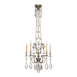 Fine Art Lamps - Fine Art Lamps 719440-3ST Encased Gems Silver Clear Crystal 5 Light Chandelier - 5 Bulbs, Bulb Type: 60 Watt Candelabra; Weight: 35lbs