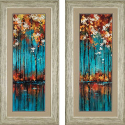 "Paragon Decor - The Mirror, Set of 2 Artwork - Brighten up those boring walls with this colorful set of 2, ""The Mirror."" Each piece in this set depicts an abstract illustration of a riverbank with tall trees of vivid crimson, scarlet, mustard yellow, and flashes of white flowers against a brilliant turquoise background. This scene is skillfully mirrored upon the river's glassy surface. Each piece in this set is surrounded by a light tan matte and simple whitewashed frame. Each piece in this set measures 22 inches wide, 2 inches deep, and 46 inches high."