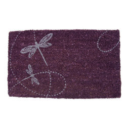 Entryways - Two Twirling Dragonflies Hand Woven Coconut Fiber Doormat - Designed by an artist, this distinctive mat is a work of art that will add a welcoming touch to any home. It is from Entryways' handmade collection and meets the industry's highest standards. This decorative mat is handsomely hand woven and hand stenciled.