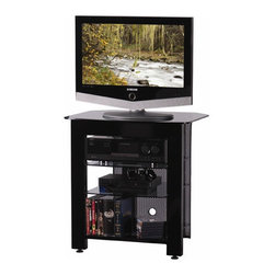 """Sanus - Steel AV 28"""" TV Stand - Now you can have the strength of steel without making your A/V gear and room look like a warehouse. Heavy-gauge steel is powder-coated with a lasting and beautiful black finish. Tops and shelves are of extra-thick frosted glass to securely support most any TV and a full complement of A/V components. Choose from three sizes - all with Sanus' trademark features like a wire management path and adjustable feet. Features: -Steel AV collection. -Heavy-gauge steel construction for more support strength. -Contemporary design accents any home dcor. -Perforated steel back-panel adds style and aids in cooling. Design Features: Sanus' Steel Foundation Collection offers contemporary design and the rigid strength of heavy-gauge to support most a full complement of AV components and TVs.  Glass Shelving: -Extra-thick tempered glass is finished with rounded edges. -Super-strength shelving supports any TV with elegance.  Adjustable Feet: -Adjustable feet ensure level and secure positioning on any floor.  Adjustable Shelving: -The shelves on model SFA29s are adjustable to fit your A/V components. Wire Management: -Wire management path adds to simple elegance of open design. -Keeps all cables neat and safely out of the way. Specifications: -Top Shelf: 27 1/2"""" W x 21 3/4"""" D, 125 lbs capacity. -Mid Shelf: 17 3/4"""" W x 19 3/4"""" D, 50 lbs capacity. -Bottom Shelf: 17 3/4"""" W x 19 3/4"""" D, 180 lbs capacity. -Shelves are adjustable."""