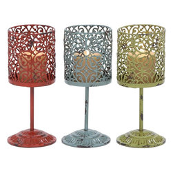 Benzara - Beautiful Metal Candle Holder 3 Assorted with Unique Style - Elegant and attractive, this metal candle holder has a versatile appeal and can be used with all decor settings. Designed from high grade metal, this minimalistic looking decor piece includes three candle holders in red, blue and green. Place it on the side tables or showcases for a perfect look. A product that promises to last you long, this one is made for the people who have a taste towards antique products. Bring this assorted holder home and let your guests praise your choice for home decoration. Moreover, it can also be used as a gift item for anniversaries and token of love Designed to perfection, this candle stand features lamp shaped holders that make it even more stylish..