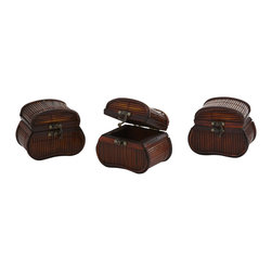 Nearly Natural - Bamboo Chests (Set of 3) - What treasures will you hide inside these beautiful bamboo chests? Jewels? Coins? Something secret only known to you? Whatever you decide to fill them with, one thing remains certain - they simply look great, and will be a handsome part of your decor for years to come. This is a set of three, so there's plenty of space to go around. Buy a set for yourself, and another as an interesting, thoughtful gift.