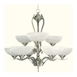 YOSEMITE HOME DECOR - 9 Lights Chandelier in Satin Nickel Finish - - Satin Nickel Frame with Ivory Cloud Shades