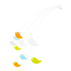 Wall-Mounted Lovebird Mobile - This mobile cascades over your baby's crib, lulling him to sleep like a bird in its nest. The unusual shape and hanging nature of this product creates an interesting visual focal point in the nursery for you and your child.