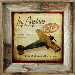 "MyBarnwoodFrames - Toy Airplane Retro Vintage Art Print in Rustic Reclaimed Wood Frame - Toy airplane vintage-look framed print in reclaimed barnwood frame. This print, designed by Marla Rae features a nostalgic toy airplane, and is designed to have the look of an antique advertisement. Text reads, ""Toy airplane. New Fun Maker, Authentic detailed construcction. Bous of all ages will love this!"" Frame is authentic reclaimed wood, and may vary slightly in color and texture from the one you see pictured here."