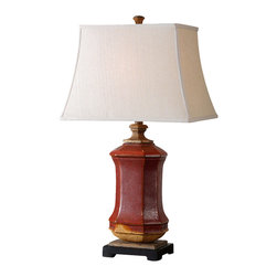 Uttermost - Uttermost Fogliano Red Ceramic Lamp - Fogliano Red Ceramic Lamp by Uttermost Rustic Red Ceramic With Burnt Orange Accents, Rust Bronze Distressing And Gilded Gold Details. The Rectangle Bell Shade Is A Beige Linen Fabric.