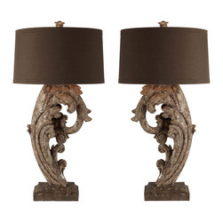 Kathy Kuo Home - Brighton and Hove Large Metallic Facing Pair Scroll Lamp - Visually impressive and extremely large, these cast resin and hand-finished scrolls are in Metallic Brown, the details of the oversized scrolls really stand out.