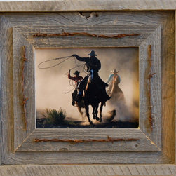 MyBarnwoodFrames - 8x10 Laramie Rustic Barnwood Picture Frame Quality Western Barn Wood Frames - 8x10 Laramie Rustic Barnwood Picture is a quality Western Frame and our specialty.  If you want a barn wood  picture  frame with extra character and a large dose of the wild west, this western frame is the perfect solution. Crafted with a heavy-duty reclaimed barn wood frame with rustic wood overlay and barbed wire to give the frame extra texture. With an extra-wide frame face, this creates an imposing piece of artwork for even smaller photos or art pieces.
