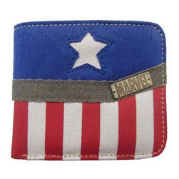 KOOLEKOO - Captain America Collection Wallet - Hold onto your money in patriotic Captain America style! This Captain America Collection Wallet features a totally cool red, white, and blue design with stars, stripes, and the Marvel logo. If you're a fan of the Captain America comics, then this wallet is a must-have!