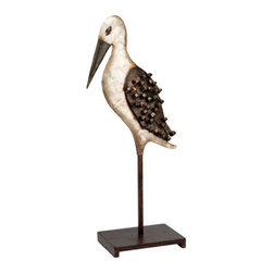 """Metal Pelican Sculpture on Stand - The metal pelican sculpture on stand measures 9"""" x 21"""". It features a beautifully crafted metal pelican mounted to a sturdy base. It will add a definite nautical touch to whatever room it is placed in and is a must have for those who appreciate high quality nautical decor. It makes a great gift, impressive decoration and will be admired by all those who love the sea."""