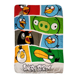 Jay Franco and Sons - Angry Birds Twin Bed Comforter Bold Colors Blanket - Features: