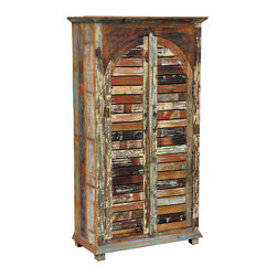 Kosas Collections - Gianna Vintage Inspired Shutter 2-door Cabinet - This beautiful one of a kind shuttered cabinet is constructed of reclaimed wood for a rustic look that brings character and charm to any room. This cabinet is hand-carved making it a perfect beautiful place to store essentials.