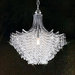 Silver Crystal Chandelier - This chandelier features dripping clear crystal accents that will brighten any corner of your room and are sure to put you in a relaxing mood.