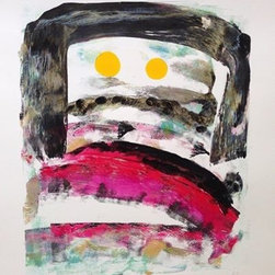 Amantha Tsaros - Peepers Pep Talk Original Artwork - Peepers Pep Talk is about coming out of the end of a stormy season. I love the idea of their being two suns. It is a monotype painting on paper created with Golden Brand Artist Paint on Arches 88 Silkscreen paper.