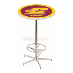 Holland Bar Stool - Holland Bar Stool L216 - 42 Inch Chrome Central Michigan Pub Table - L216 - 42 Inch Chrome Central Michigan Pub Table  belongs to College Collection by Holland Bar Stool Made for the ultimate sports fan, impress your buddies with this knockout from Holland Bar Stool. This L216 Central Michigan table with retro inspried base provides a quality piece to for your Man Cave. You can't find a higher quality logo table on the market. The plating grade steel used to build the frame ensures it will withstand the abuse of the rowdiest of friends for years to come. The structure is triple chrome plated to ensure a rich, sleek, long lasting finish. If you're finishing your bar or game room, do it right with a table from Holland Bar Stool.  Pub Table (1)