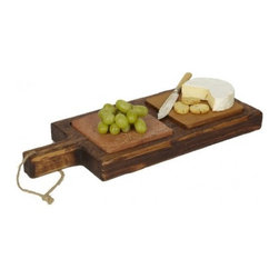 Small Tapas Plank with Hardwood - Vintage Wooden Cheese and Serving Tray