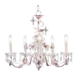Jubilee Collection - Crystal Flower Chandelier Pink - A shimmering garden of crystals. A spiral of crystal flowers flutters up the center of this 5-arm pink chandelier. Removable glass bobeches with attached tear drop crystals glisten in the light.