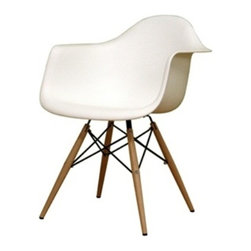 Fine Mod Imports - Wood leg Arm Chair White - The Wood leg Dining Arm Chair is a truly comfortable chair, it has a high flexible back with good 'give' and a deep seat pocket supported by an elegant Wood/Wire Base. Material: White ABS Frame.