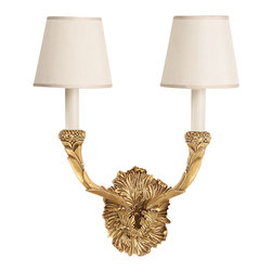 """Inviting Home - Cast Brass Sconce - solid cast brass sconce in antique finish with round fabric shade; 13-3/4""""W x 8-1/2""""D x 17""""H; Antiqued solid brass two-light electrified sconce. This sconce has antique finish and round hardback fabric shades. Wall sconce is designed for use with candelabra bulbs only. UL approved - dry location; hardwire; 2x candelabra bulb; bulbs not included."""