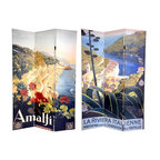 Oriental Furniture - 6 ft. Tall Double Sided Amalfi/Riviera Canvas Room Divider - Satiate your wanderlust with this spectacular double-sided room divider. The front is a lovely, stylized image that captures Italy's  Amalfi  coastline at the turn of the century, painted by artist Mario Borgoni. On the back is an equally attractive Borgoni poster beaconing potential travelers to visit  La Riviera Italliene . Both beautiful landscape paintings will bring compelling, vintage graphic art to your living room, bedroom, dining room, kitchen or place of business. This three panel screen has different images on each side, as shown.
