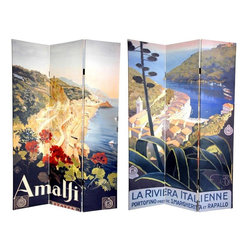 Oriental Furniture - 6 ft. Tall Double Sided Amalfi/Riviera Canvas Room Divider - Satiate your wanderlust with this spectacular double-sided room divider. The front is a lovely, stylized image that captures Italy's Amalfi coastline at the turn of the century, painted by artist Mario Borgoni. On the back is an equally attractive Borgoni poster beaconing potential travelers to visit La Riviera Italliene. Both beautiful landscape paintings will bring compelling, vintage graphic art to your living room, bedroom, dining room, kitchen or place of business. This three panel screen has different images on each side, as shown.