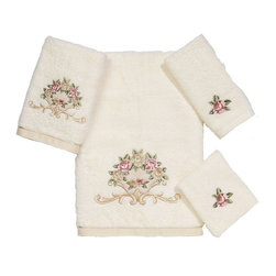 Avanti Linens - Premier Royal Rose 4 Piece Cotton Towel Set by Avanti Linens - Towels will bring an elegant element to your bathroom. Creamy ivory towels are embellished with a beautiful floral, scroll embroidery in soft tones.