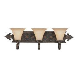 Savoy House - Southerby Florencian Bronze Three-Light Bath Fixture - -Cream textured glass Savoy House - 8-0160-3-76
