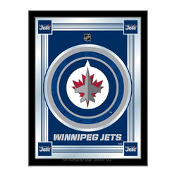 """Holland Bar Stool - Holland Bar Stool Winnipeg Jets Logo Mirror - Winnipeg Jets Logo Mirror belongs to NHL Collection by Holland Bar Stool The perfect way to show your team pride, our logo mirror displays your team's symbols with a style that fits any setting.  With it's simple but elegant design, colors burst through the 1/8"""" thick glass and are highlighted by the mirrored accents.  Framed with a black, 1 1/4 wrapped wood frame with saw tooth hangers, this 17""""(W) x 22""""(H) mirror is ideal for your office, garage, or any room of the house.  Whether purchasing as a gift for a recent grad, sports superfan, or for yourself, you can take satisfaction knowing you're buying a mirror that is proudly Made in the USA by Holland Bar Stool Company, Holland, MI.   Mirror (1)"""