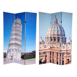 "Oriental Furniture - 6 ft. Tall Double Sided Pisa and St. Peter's Canvas Room Divider - Step up to a new level of style with this fine screen, featuring two beautiful color photographs of famous architectural wonders from  Lo Stivale  (""The Boot""). The front photo is a daylight shot of the dome of St. Peter's Basilica, regarded by the Roman Catholic Church as one of the holiest Christian sites. On the back is the ""Leaning Tower of Pisa"", most famous foundation problem in the world. These attractive photographs will add classically Italian decorative accents to your living room, bedroom, dining room or kitchen. This three panel screen has different images on each side, as shown."