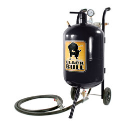 Buffalo Tools - Black Bull 10 Gallon Abrasive Blaster - 10 Gallon Abrasive Blaster by Black Bull Remove oxidation, paint and rust with the Black Bull 10 Gallon Abrasive Blaster. This steel sandblaster allows for a diverse amount of surfaces to be cleaned during a single blast time. Designed for contractors and serious do-it-yourselfers, this steel sandblaster is an easy way for you to clean a variety of different surfaces including metal, wood, brick or concrete. Features a 10 gallon tank capacity with shut-off valve. Includes everything you need to get started. Just connect to a compressor, put on safety gear and fill with abrasive sand. Easily remove paint, rust and oxidation  10-gallon tank with shut-off valve 65 to 125 psi, 6 to 25 CFM Moves 80-90 percent of air speed 6 in. rubber wheels Overall size: 13.8 in L x 16.5 in. W x 33.5 in. H