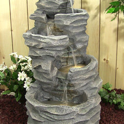 Outdoor Classics - Outdoor Classics 5-Level Rock Pond Fountain with LED Lights -