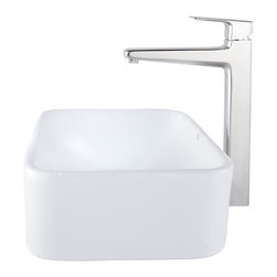 Kraus - Kraus C-KCV-122-15500BN White Rectangular Ceramic Sink and Virtus Faucet - Add a touch of elegance to your bathroom with a ceramic sink combo from Kraus