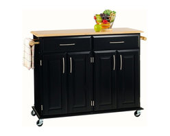 HomeStyles - Wood Kitchen Cart in Black Finish - Natural top. Two utility drawers suspended on easy open glides. Two spacious cabinets with adjustable shelves. Towel bar located at either ends. Four industrial grade heavy duty locking casters ensure convenient mobility. Clear coat finish helps to minimize wear from normal use. Brushed nickel hardware. Made from Asian hardwood and and engineered wood. Made in Thailand. 48.25 in. L x 18.25 in. W x 35.5 in. H. Assembly InstructionsOur Dolly Madison kitchen cart, handsomely designed is perfect for the kitchen or other room of the house needing some extra storage.