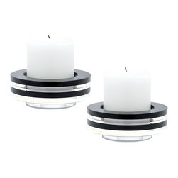 "Lazy Susan - Round Tuxedo Crystal Candleholder, Set Of2 - Black And Clear Crystal Is Sliced And Hand Polised Before Being Stacked To Create An Interesting Visual Contrast. The Recessed Base Elevates The Piece And Allows Light To Flow Through. Holds Pillar Candle Up To 3"" In Daimeter. Set Of 2."