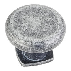 Jeffrey Alexander MO6303SIM-D Cabinet Knob - Belcastel 1 Series - Distressed Ant - This distressed antique silver finish round cabinet knob with forged design is a part of the Belcastel 1 Series from Jeffrey Alexander. A perfect blend of craftmanship in traditional and contemporary design to complement any decor.