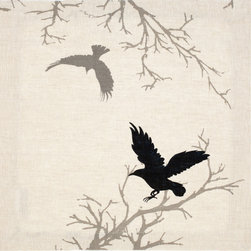 Huddleson - Crow Natural Linen Napkin  20x20 (Set of Four) - Linen napkin featuring a print of a hand-painted crow against a natural undyed linen background and silhouetted branch.  This dramatic tableau has breath-taking depth and detail.  100% Italian linen - beautifully soft and made to last. Machine washable.