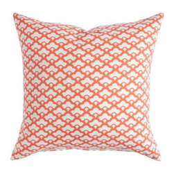 Tangerine Lotus Pillow - This tangerine pillow in the lotus pattern will definitely bring your space up to date and looking fresh.