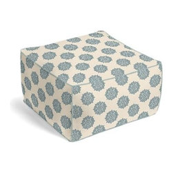 Blue Medallion Block Print Custom Pouf - The Square Pouf is the hottest thing in decor since the sectional sofa. This bean bag meets Moroccan style ottoman does triple duty as a comfy extra seat, fashion-forward footstool, or part-time occasional table. We love it in this eclectic medallion block print in pale blue and taupe on lightweight ivory cotton. Hand printed in India.