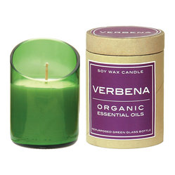 Be Home - Recycled Glass Candle Diagonal Cut,  Verbena, Green - Scented candles are one of life's simple luxuries, but some of the scents out there have ingredients that aren't so good to breathe in. This long-burning soy wax candle uses organic essential oil to fill your home with the soothing scent of verbena that's as fresh as summer fields. Housed in a diagonal-cut recycled green glass bottle, it's perfect for bath time or anytime.