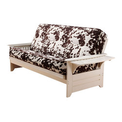 Kodiak Furniture - Phoenix Antique White Futon Frame with Futon Mattress in Udder Madness, Without - This futon set consists of  solid wood frame in Antique White finish and innerspring mattress in Udder Madness cover. All the furniture from this collection is made only from high quality materials. This futon can be converted in some positions as bed, lounger or sofa. Side arms can be flip up to create a convenient trays. Available with or without drawers.