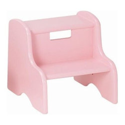 Roma Kids Step Stool in Several Colors - Roma Kids Step Stool in Several ColorsPerfect to help your child boost a few extra inches. Great to encourage their beginning independence and confidence. How proud they will feel when they can reach a book or toy for themselves. Or help out Mom and Dad with reaching the sink for brushing teeth or kitchen faucet. Made of wood it is strong and durable. This two step up design even has a handle built in to easily move. Available in several color choices to suite your personal decor. Little Colorado is a Green CompanyAll finishes are water-based low-VOC made by Sherwin Williams and other American manufacturers. Wood raw materials come from environmentally responsible suppliers. MDF used is manufactured by Plum Creek and is certified green CARB-compliant and low-formaldehyde. All packing insulation is 100% post-consumer recycled. All shipping cartons are either 100% post-consumer recycled or are made of recycled cardboard.About Little ColoradoThis item is made by Little Colorado. Begun in 1987 Little Colorado Inc creates solid wood hand-crafted children's furniture. It's a family-owned business that takes pride in building products that are classic stylish and an excellent value. All Little Colorado products are proudly made in the U.S.A. with lead-free paints and materials. With a look that's very expensive but a price that is not Little Colorado products bring quality and affordability to your little one's room.