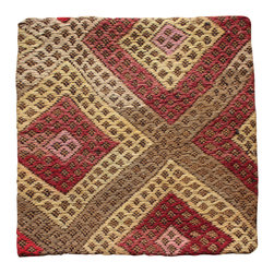 Hand Woven from Turkey - Earth Tones Antique Kilim Pillow Cover - Earth tone Hand Woven Antique Kilim Rug made into Pillow Cover.