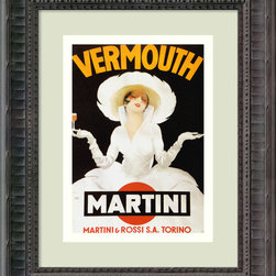 Amanti Art - Vermouth Martini (ca. 1918) Framed Print by Marcello Dudovich - For the art of advertising at its finest, look no further than acclaimed Italian illustrator Marcello Dudovich. This gallery quality print, exquisitely displayed in a blackened wood frame, is the perfect encouragement to celebrate anywhere in your favorite setting.