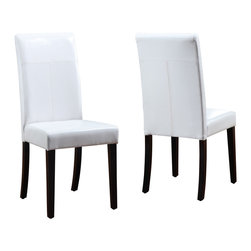 Modus Furniture International - Urban Seating Parsons Chairs in White Leatherette (set of two) - We created the Urban Seating collection to provide stylish, affordable seating and storage options throughout the home. Great around a table, in a foyer, a game room or a den, chairs are engineered for easy assembly using durable 9 bolt grooved corner block construction and feature web seat cushions for extra comfort. Storage cubes and benches ship fully assembled and feature padded tops, upholstered interiors and built-in wood serving trays. The cubes and benches are a smart accent to any room of the house and are great for storing bed linens, shoes, toys, magazines, gaming accessories and other household clutter. All Urban Seating products are available in a supple leatherette that's durable, stylish and easy to clean.