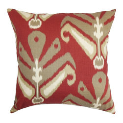 "The Pillow Collection - Sakon Ikat Pillow Red Brown - This multicolored square pillow provides a cheery vibe to your interiors with its elaborate ikat pattern. This accent pillow features a stroke of brown, neutral and bold red background. This delightful decor pillow looks great in various settings and suits many styles. You can pair this 18"" pillow with other patterns like geometric, plaid or solids. Crafted from 100% plush cotton material. Hidden zipper closure for easy cover removal.  Knife edge finish on all four sides.  Reversible pillow with the same fabric on the back side.  Spot cleaning suggested."